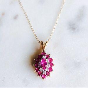 Jewelry - Vintage 10K Gold Ruby Diamond Necklace